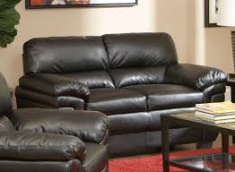 Leather Like Sofa Coaster 502952 Fenmore Black Split Back Leather Like Loveseat