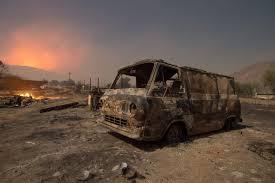 California Wildfires Burn Cars by Crews Make Major Gains Against Blue Cut Wildfire I 15 Travel
