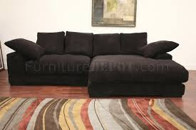 Soft Sectional Sofa Brown Ribbed Velvety Microfiber Modern Sectional Sofa