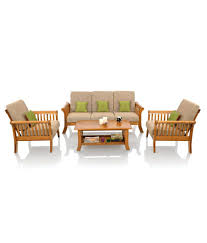 Solid Wood Furniture Online India Royaloak Vita Sofa Set With Beige Cushions Solid Wood Buy