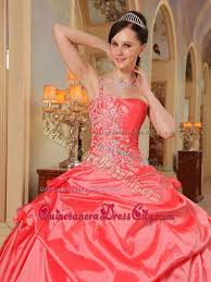 coral quince dress appliques one shoulder coral taffeta quinceanera dress with