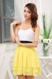 graduation white dresses white and yellow strapless party graduation homecoming dresses