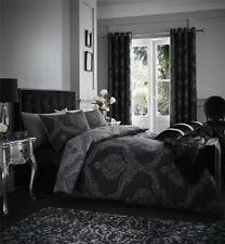 White And Black Damask Curtains Damask Eyelet Curtains Ebay