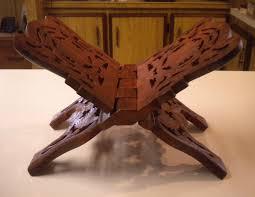 carved wood book holder stand folding flower leaf design vintage