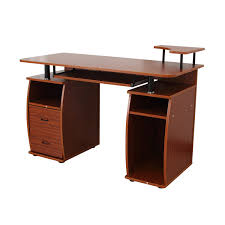 Computer Desk Tray Homcom Home Office Computer Desk W Elevated Shelf White