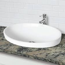 semi recessed bathroom sinks decolav delphine 1438 cwh semi recessed oval vitreous china