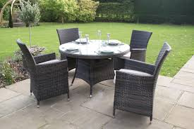 paris 4 seater round rattan dining set