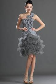 silver knee length tulle a line cocktail dress pictures photos