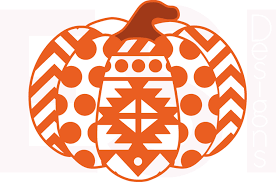 Halloween Pumpkin Silhouettes Pumpkin Svg Dxf Eps Aztec Polka Dot And Chevron Pattern For