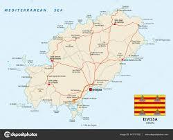 Mediterranean Sea World Map by Road Map Of The Spanish Mediterranean Sea Eivissa With Flag