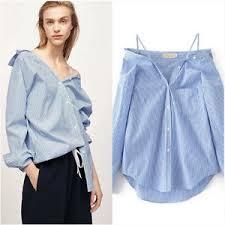 oversized blouse womens one shoulder oversized shirt deconstruction blue stripe