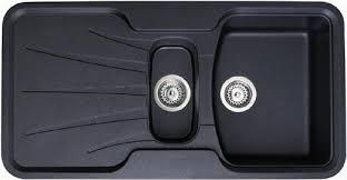 Composite Kitchen Sinks Uk Korona 1 5 Bowl Rok Metallic Black Composite Kitchen Sink