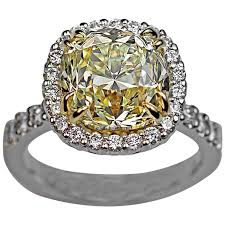 Diamond Cushion Cut Ring 5 37 Carat Fancy Light Yellow Old Cushion Cut Diamond Engagement