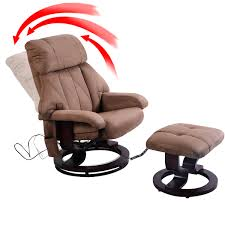 swivel chair with ottoman costway brown leisure recliner chair ottoman with 8 motor massage