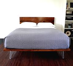 modern double size white oak wood low profile bed frame with side