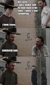 Rick Carl Memes - walking dead rick carl meme psycho troll trollface coolface