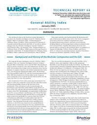 wisc iv technical report 4 general ability index
