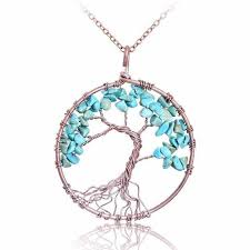 turquoise stone pendant necklace images Magnificent handmade tree of life natural stone pendant necklace jpg