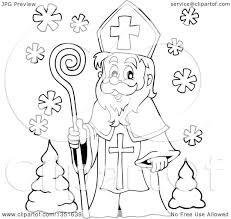 clipart of a black and white cartoon happy st nicholas royalty