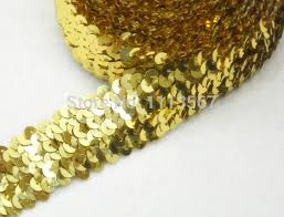 elastic stretch sequin trim 3 5cm 4 row craft gold trim sewing