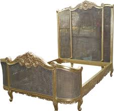 White Wicker King Size Bedroom Set 5 U0027 King Size French Curved Rattan Bed High Headboard Antique Gold