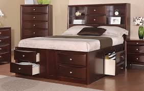 wood bed frame with drawers espresso solid wood queen bed frame w drawers and headboard bookcase