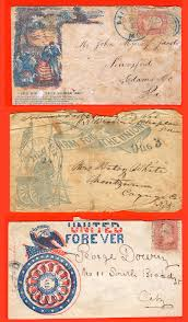 civil war patriotic letter covers envelopes 1861 1865 three 3