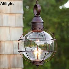 Pendant Porch Light Iron Industrial Loft Outdoor Pendant L Globe Multipurpose Porch