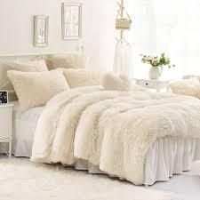 high quality purple blue pink creamy white cashmere wool velvet ruffle duvet cover bedding sets bed sheet duvet cover pillowcase