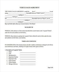 7 vehicle sales contract free sample example format download