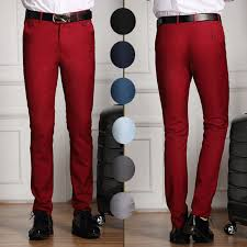 fashion trends red fitted cheap mens dress pants with black belt