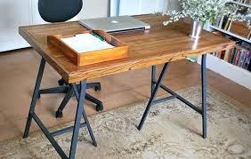 Diy Trestle Desk Wood Desk Legs Diy With Ikea Trestle And Flooring Furniture