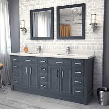 Grey Vanity Bathroom by Studio Bathe Calais 75 In Pepper Grey Vanity With Mirrors