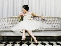 modest ivory vintage inspired tea length bridal gown