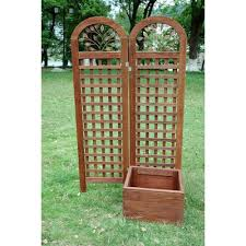 classic gifts and decor fir wood planter box with trellis