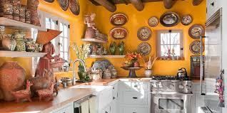 yellow kitchen with santa fe style southwest kitchen decor