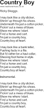 songs with chords country boy