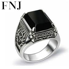 black stone rings images Black stone ring 925 sterling silver marcasite mens punk pure s925 jpg