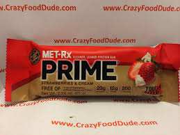 crazy food dude review met rx prime strawberries u0026 cream protein bar