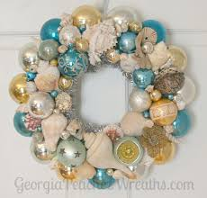 seashells u0026 shiny brites christmas wreath beachy beach coastal sea