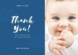 christening thank you card templates canva