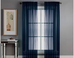 Navy Blue Sheer Curtains Blue Sheer Curtain Etsy