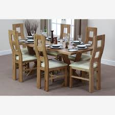 crossley 6ft solid oak dining table 6 waved back leather chairs