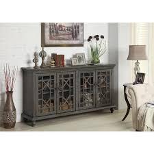 Media Cabinets With Glass Doors Amazing Trove Accents Joplin Texture Grey Four Door Media Credenza