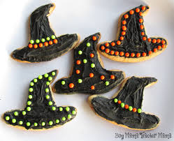 Decorated Halloween Sugar Cookies by Boy Mama Halloween Cookies Witch Hats Boy Mama Teacher Mama
