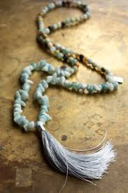 beaded charm necklace images Long blue beaded necklace beach boho amazonite semi precious jpg