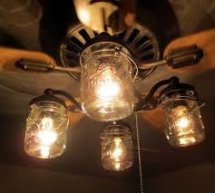 Country Style Ceiling Fans With Lights Amazing Vintage Canning Jar Ceiling Fan Light Kit Lgoods On