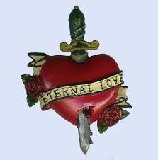 tattoo style eternal love fridge magnet skull heart roses bones