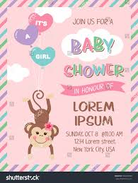 Babyshower Invitation Card Cute Monkey Cartoon Illustration Baby Shower Stock Vector