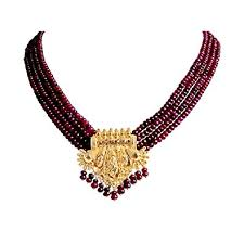 gold plated bead necklace images Buy suratdiamond 4 line real red ruby beads gold plated pendant jpg